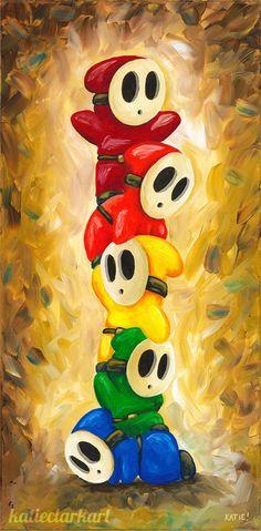 Rainbow of Shy Guys! Super Mario Bros Fan Art by Katie Clark Super Mario Bros, Mundo Super Mario, Super Mario World, Super Mario Brothers, Nintendo Characters, Video Game Characters, Cr7 Jr, Katie Clark, Shy Guy