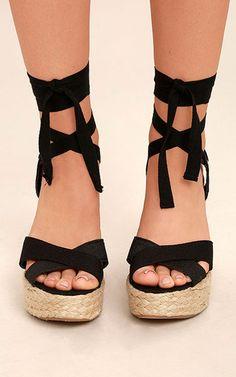 fdd8b8f12a2 Esme Black Lace Up Espadrille Wedges. Black Espadrille SandalsPeep Toe ...