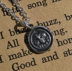 bee necklace... bee silent wax seal necklace by suegrayjewelry