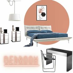 """««𝔹𝔼𝔻ℝ𝕆𝕆𝕄»» What do you think??? As shown in the the pic→→→ • Pendant light """"F28394"""" Made in Spain •Nightstands """"Q12"""" White open pore finish with lacquer handles •Bed """"Mer"""" Top grain Italian leather and chrome legs •Armchair """"Apelle"""" Structure in chrome with black leather •Consolle """"Gotham"""" Smoked glass and mirror ★ ★★ ★★★ ★★★★ 𝟱★𝗗𝗲𝘀𝗶𝗴𝗻® Top quality