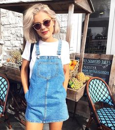 """3,905 Likes, 65 Comments - Topshop Australia (@topshop_au) on Instagram: """"Sundays are meant for denim pinafores and brunching. Shop @laurajadestone's look instore now """""""