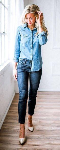 denim on denim: shirt + skinny jeans + heels