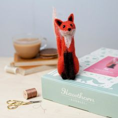 Fox Needle Felting Kit Learn how to needle felt this feisty Fox using British felting wool. Follow the step by step photo instructions from Hawthorn Handmade to make this complete craft kit. Photo credit: Holly Booth.