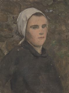 """""""Head of a French Peasant Woman,"""" Cecilia Beaux, 1888, oil on cardboard, 12 13/16 x 9 1/2"""", Pennsylvania Academy of the Fine Arts."""