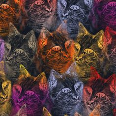 PRECIOUS GLITTER CAT original on navy blue fabric by paysmage on Spoonflower…