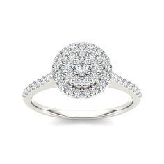 10k White Gold 3/4ct TDW Diamond Double Halo Engagement Ring (H-I, I1-I2)