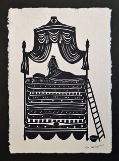 The Princes and the Pea - Hand-Cut Silhouette Papercut
