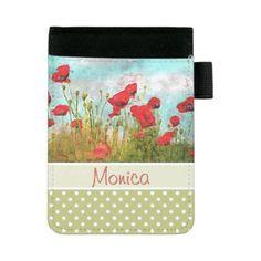 #monogrammed - #Cute Classic Poppy Flowers Meadow Field Watercolor Mini Padfolio