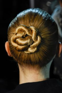 RICK OWENS - Slicked-back, twisted buns were then covered with cage-like knitted headpieces.