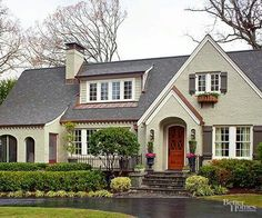 Dark roof? Love the redish door