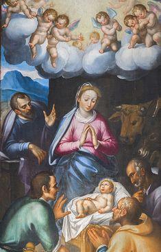 """Pormenor do retábulo do altar Mor da Capela de S. Miguel. """"O nascimento de cristo""""  #turismouc Altar, Painting, Christ, Birth, Painting Art, Paintings, Painted Canvas, Drawings"""