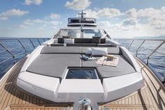Yes, it has great lines and bold Italian styling, but the feature that makes Azimut's new most intriguing is what you don't see: its carbon-fiber construction. Azimut Yachts, Boat Stuff, Yacht Design, Carbon Fiber, Construction, Boating, Youtube, House, Building