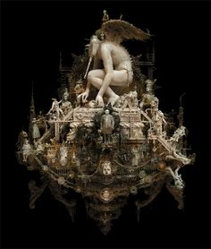 "arpeggia: "" Kris Kuksi Eros at Play, 2010 mixed media assemblage x x "" Mixed Media Sculpture, Sculpture Art, Modern Sculpture, Designer Couch, Hi Fructose, Art Du Monde, Mc Escher, Illustration, Rococo Style"