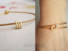 Tiny Gold Lowercase Initial Bangle Bracelet - Gold Letter Bracelet Custom Bridesmaid Gift Personalized Wedding Minimalist Monogram