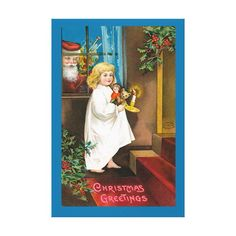 #promo Vintage Christmas Little Girl With Candle & Santa Canvas Print #victorian #retro #old #fashioned #cute #CanvasPrint #affiliatelink #merrychristmassigns #merrychristmas #holidaysigns #christmasdecor Merry Christmas Sign, Christmas Store, Christmas Angels, Christmas Greetings, Christmas Posters, Christmas Holiday, Christmas Decor, Christmas Cards, Vintage Christmas Photos