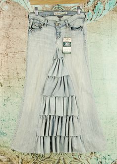 Lovely One of A Kind Long Modest Maxi Skirt with Ruffles from size - Love My Jean Skirt - Modest Jean Skirts. This is a sweeeeet jean skirt! Modest Skirts, Cute Skirts, Modest Outfits, Modest Fashion, Cute Outfits, Fashion Outfits, Denim Skirts, Long Jean Skirts, Apostolic Fashion