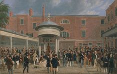James Pollard, 1792–1867, British, Epsom Races: Settling Day at Tattersalls, 1834 to 1835, Oil on canvas, Yale Center for British Art, Paul Mellon Collection