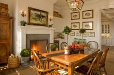 /warm wood tones and green, cozy setting