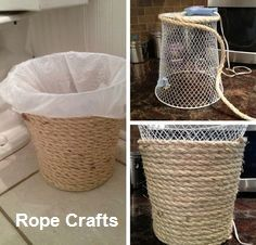 Dollar store crafts and ideas make excellent decor, accessories, activities, and gifts for your homestead. Check out this list of 54 dollar store crafts, then head over to your own dollar store and…Dollar Store Trash Can MakeoverBedroom Decor Ideas Rope Crafts, Creative Crafts, Diy Crafts To Sell, Fun Crafts, Creative Storage, Crafts For The Home, Diy Projects To Sell, Simple Crafts, Sell Diy
