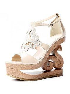 Patent Leather Nude Rhinestone Wedge Sandals