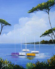 Matin en bord de mer (1) - Peinture au couteau de l'artiste peintre BRUNI. - © 2014