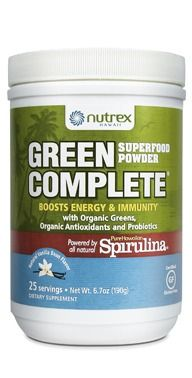 New formula! Green Complete Superfood Powder with Hawaiian Spirulina. Packed full of nutrients and ingredients like kale, broccoli, spinach, dulse, acai, & goji. Vegan & now certified gluten-free