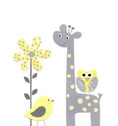 Yellow Gray Nursery Decor, Kids Wall Art, Baby Room Decor, Yellow and Gray…