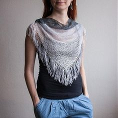 Four Colors Knitted Triangle Scarf / Tassels Grey by RUKAMIshop