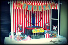 Fun Candy Buffet at a Vintage Circus Party.  See more party ideas at CatchMyParty.com.  #circuspartyideas