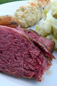 Corned beef is covered in Irish stout and brown sugar then slow roasted in the oven until tender. Irish Recipes, New Recipes, Holiday Recipes, Dinner Recipes, Cooking Recipes, Favorite Recipes, Dinner Ideas, Corned Beef Recipes, Corned Beef Brisket