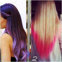 dip dyed hair , love the purple Short Dyed Hair, Dyed Hair Ombre, Dyed Hair Purple, Dyed Hair Pastel, Dip Dye Hair, Long Hair With Bangs, Dye My Hair, Dip Dyed, Purple Ombre