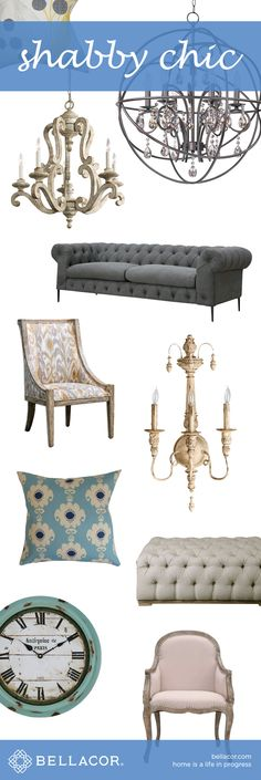 Shop Our Collection of Shabby Chic Furniture, Lighting and Decor. Don't forget our Bellacor price match guarantee plus Free Shipping on all orders $75+. http://www.bellacor.com/shabby-chic.htm?partid=social_pinterestad_shabbychic_collage