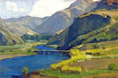 William Wendt. The Winding Stream, c.1917. Oil on Canvas. 16 x 24 in (40.64 x 60.96 cm)