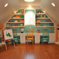 Desk space in play room for kids! Such a cute idea for them to sit and do their homework!