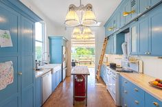 Traditional Kitchen Hwang DeWitt Love the cabinets, love the ladder, and love the little yellow lights