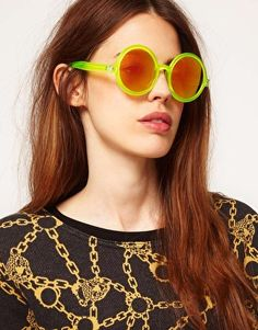 Enlarge ASOS Round Sunglasses With Pink Mirrored Lens
