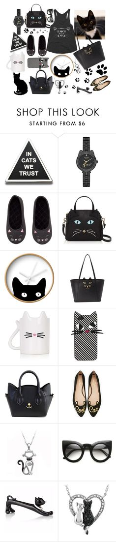 """""""Crazy Cat Lady Finds"""" by dogzprinted ❤ liked on Polyvore featuring Kate Spade, H&M, Dot & Bo, Charlotte Olympia, Topshop and Lulu Guinness"""