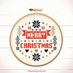 Christmas cross stitch pattern - Merry Merry Christmas - Xstitch Instant download - Modern n Minimal Xmas snowflake Love Heart Sweet Home