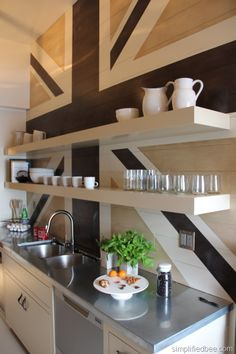 "Union Jack painted wall in the ""Modern Kitchen Pantry"" designed by Tinsley Hutson-Wiley and Allison Bloom. #unionjack"