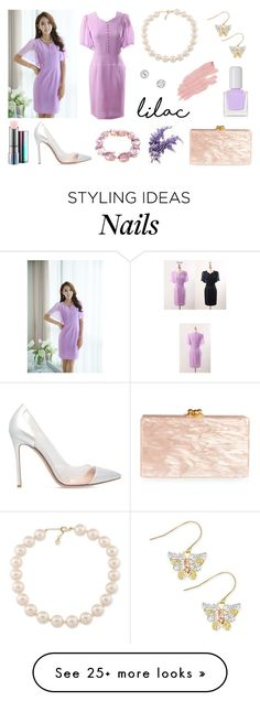 """""""StyleOnme_Chiffon Butterfly Sleeve Fitted Dress"""" by styleonme-kr on Polyvore featuring Gianvito Rossi, Edie Parker, tenoverten, Carolee, MAC Cosmetics and Jane Iredale"""
