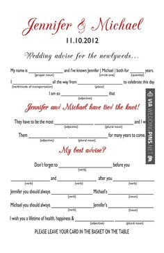Printable Wedding Mad Libs A Fun Guest Book Alternative