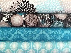 Glam Fabrics on Etsy - GREAT collection - always something you can be tempted by. Big and small piecs.  This particular design is Andrea Victoria Fabric bundle in AQUA by Riley Blake Designs - wish - flowers - main - 1 Yard yard of each