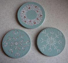 "FROM LITTLE ACORNS - Folk It ""Folky White Christmas"" designs on Cork Coasters"