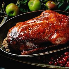 Roast Goose with Forcemeat and Spiced Cranberry and Apple Stuffing