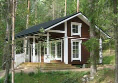 A little cottage : ) Tiny Cabins, Tiny House Cabin, Cottages And Bungalows, Cabins And Cottages, House Exterior Color Schemes, Little Cabin, Lake Cottage, Facade House, Scandinavian Home
