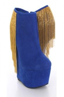 Royal Blue Faux Suede Chain Curtain Anti Gravity Wedges