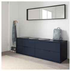 IKEA - NORDMELA, dresser, black-blue, You can also use this chest of drawers as a bench since the construction is both stable and sturdy. Smooth running drawers with pull-out stop. Ikea Drawers, Dresser Drawers, Black Chest Of Drawers, Design Ikea, Design Design, Ikea Usa, Ikea Inspiration, Ikea Family, Best Ikea