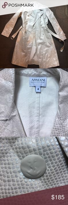 ARMANI - weatherproof Snakeskin trench Rare elegant weatherproof trench coat from Armani -- with a bright white with a pearly silver finish this jacket brings chic to the next level --  is in excellent condition Giorgio Armani Jackets & Coats Trench Coats