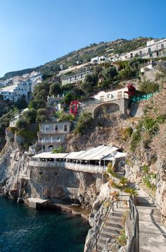 The cliffside town of Praiano on the Amalfi Coast, Italy