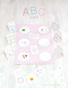 Free! This alphabet printable file folder game is designed to help learning upper and lower case letters together with the fun pretend play of running a popular café. Printable file folder game.